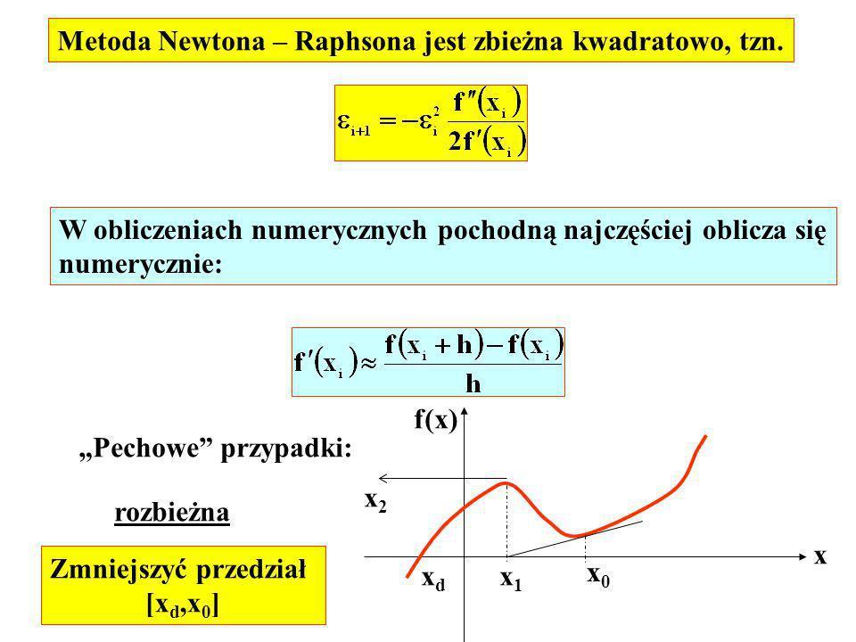 W obliczeniach numerycznych pochodną najczęściej oblicza się numerycznie: Metoda Newtona – Raphsona jest zbieżna kwadratowo, tzn. Pechowe przypadki: x