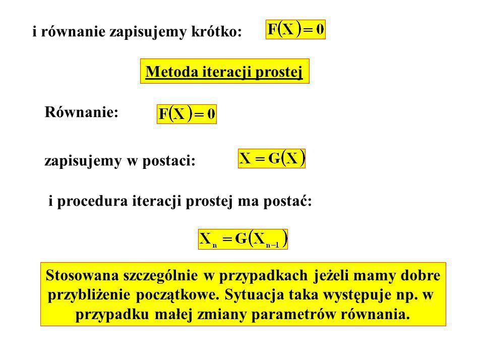 i równanie zapisujemy krótko: Metoda iteracji prostej Równanie: zapisujemy w postaci: i procedura iteracji prostej ma postać: Stosowana szczególnie w