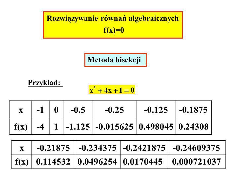Rozwiązywanie równań algebraicznych f(x)=0 Metoda bisekcji Przykład: x0-0.5-0.25-0.125-0.1875 f(x)-41-1.125-0.0156250.4980450.24308 x-0.21875-0.234375