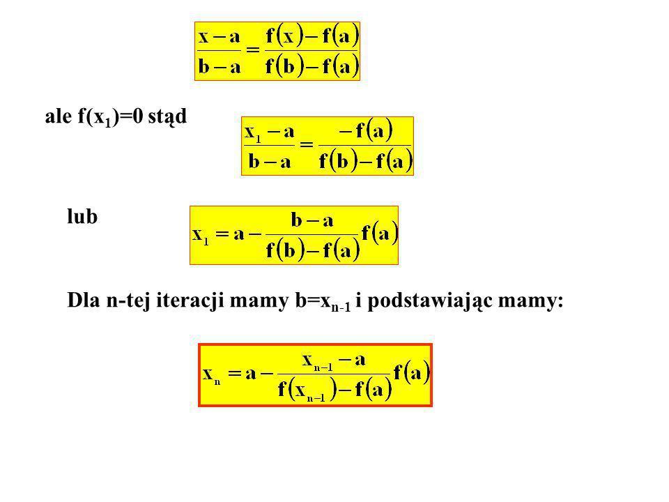 ale f(x 1 )=0 stąd lub Dla n-tej iteracji mamy b=x n-1 i podstawiając mamy: