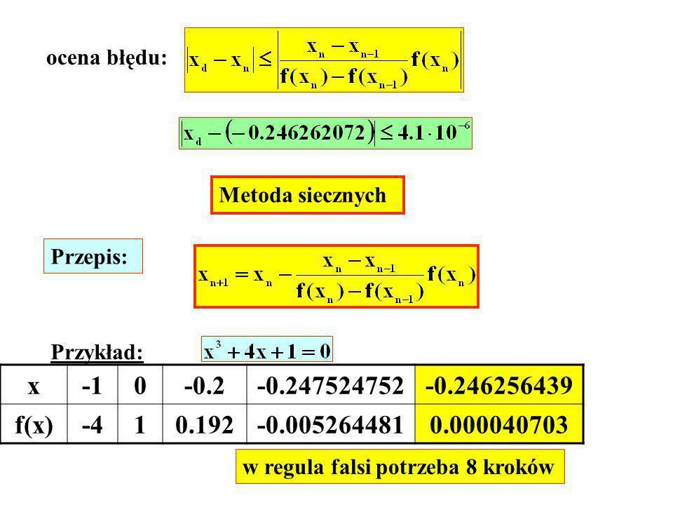 Metoda siecznych Przepis: Przykład: x0-0.2-0.247524752-0.246256439 f(x)-410.192-0.0052644810.000040703 w regula falsi potrzeba 8 kroków