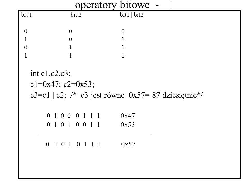 operatory bitowe - | bit 1bit 2bit1 | bit2 0 0 0 1 0 1 0 1 1 1 1 1 int c1,c2,c3; c1=0x47; c2=0x53; c3=c1 | c2; /* c3 jest równe 0x57= 87 dziesiętnie*/ 0 1 0 0 0 1 1 1 0x47 0 1 0 1 0 0 1 1 0x53 0 1 0 1 0 1 1 1 0x57