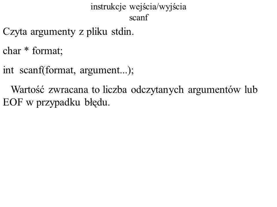 instrukcje wejścia/wyjścia sscanf Czyta argument (argumenty) z ciągu znaków.