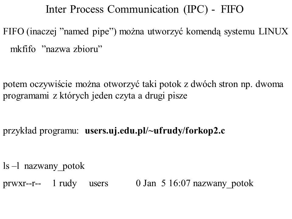Inter Process Communication (IPC) - FIFO FIFO (inaczej named pipe) można utworzyć komendą systemu LINUX mkfifo nazwa zbioru potem oczywiście można otw