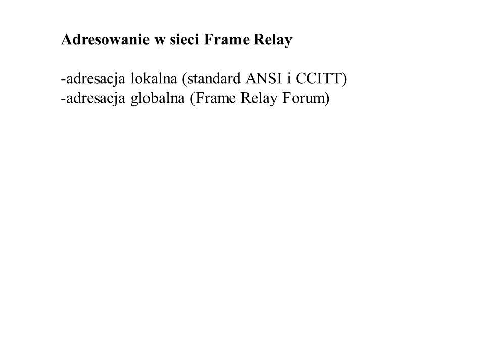 Adresowanie w sieci Frame Relay -adresacja lokalna (standard ANSI i CCITT) -adresacja globalna (Frame Relay Forum)