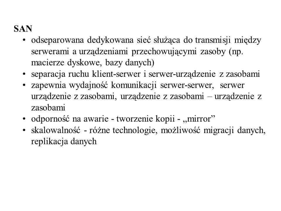 SAN odseparowana dedykowana sieć służąca do transmisji między serwerami a urządzeniami przechowującymi zasoby (np. macierze dyskowe, bazy danych) sepa