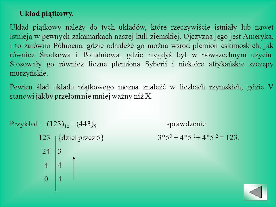 Układ piątkowy Układ czwórkowy Układ ósemkowy Układ dwójkowy