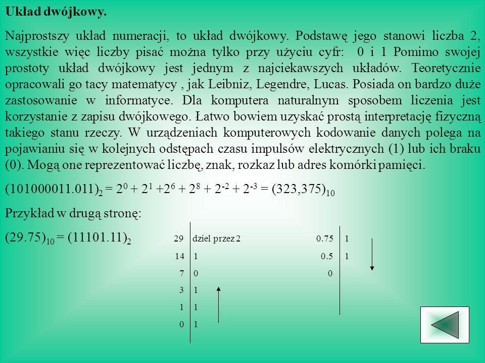 Układ dwójkowy.Najprostszy układ numeracji, to układ dwójkowy.