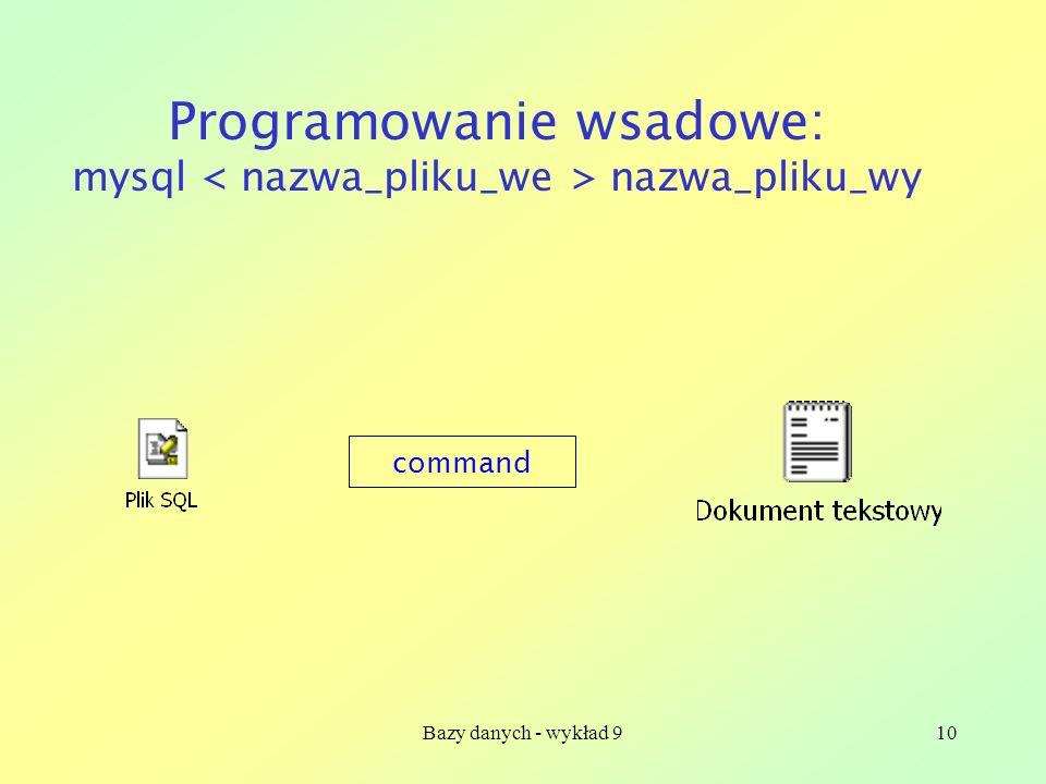 Bazy danych - wykład 910 Programowanie wsadowe: mysql nazwa_pliku_wy command