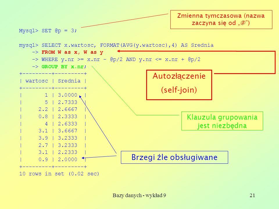 Bazy danych - wykład 921 Mysql> SET @p = 3; mysql> SELECT x.wartosc, FORMAT(AVG(y.wartosc),4) AS Srednia -> FROM W as x, W as y -> WHERE y.nr >= x.nr