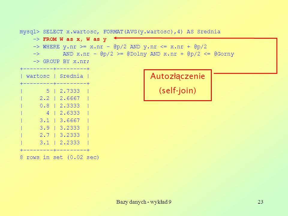 Bazy danych - wykład 923 mysql> SELECT x.wartosc, FORMAT(AVG(y.wartosc),4) AS Srednia -> FROM W as x, W as y -> WHERE y.nr >= x.nr - @p/2 AND y.nr <=