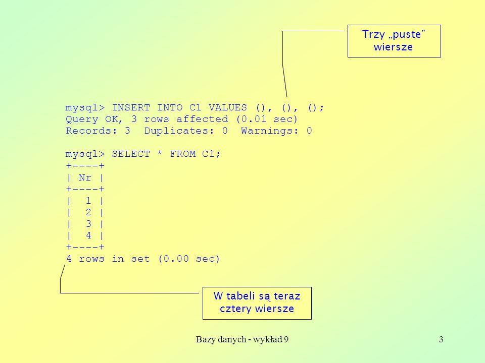 Bazy danych - wykład 93 mysql> INSERT INTO C1 VALUES (), (), (); Query OK, 3 rows affected (0.01 sec) Records: 3 Duplicates: 0 Warnings: 0 mysql> SELE