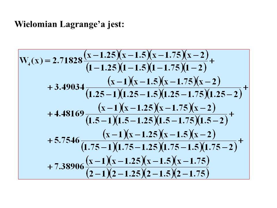 Wielomian Lagrangea jest: