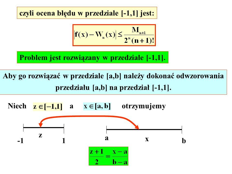 czyli ocena błędu w przedziale [-1,1] jest: Problem jest rozwiązany w przedziale [-1,1]. Aby go rozwiązać w przedziale [a,b] należy dokonać odwzorowan