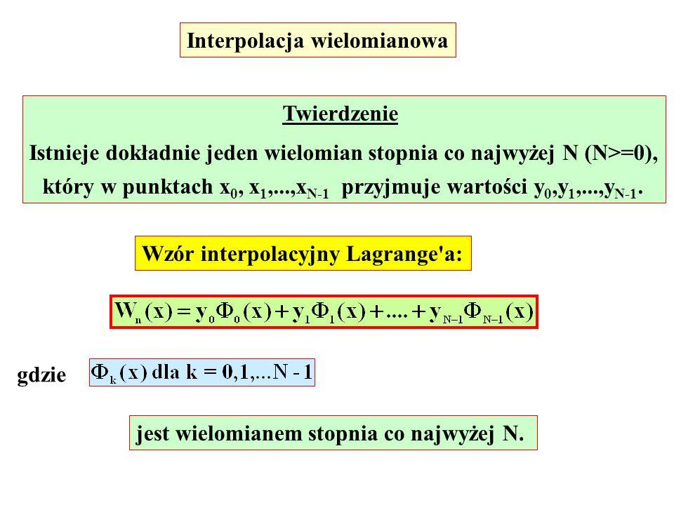 Interpolacja wielomianowa Twierdzenie Istnieje dokładnie jeden wielomian stopnia co najwyżej N (N>=0), który w punktach x 0, x 1,...,x N-1 przyjmuje w