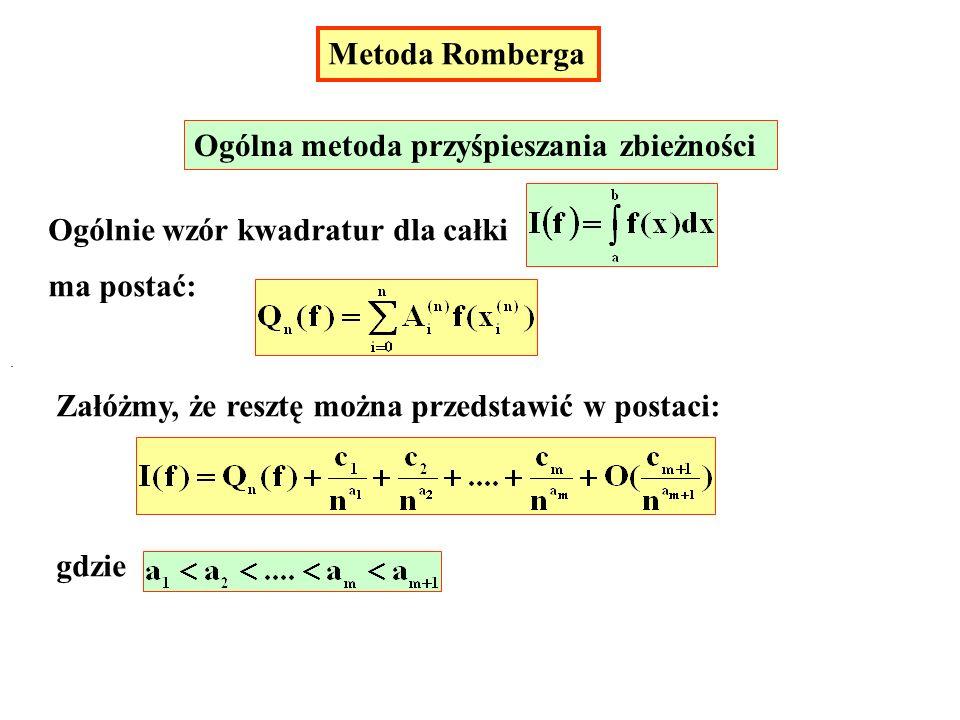 Metoda Romberga Ogólna metoda przyśpieszania zbieżności Ogólnie wzór kwadratur dla całki ma postać: Załóżmy, że resztę można przedstawić w postaci: gd