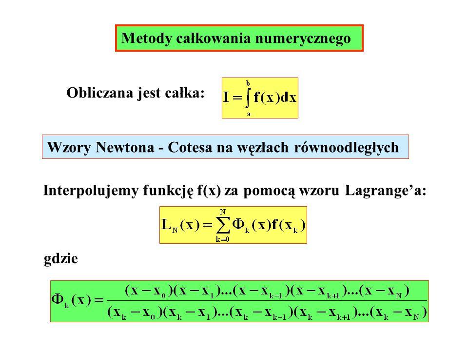 Metody całkowania numerycznego Obliczana jest całka: Wzory Newtona - Cotesa na węzłach równoodległych Interpolujemy funkcję f(x) za pomocą wzoru Lagra