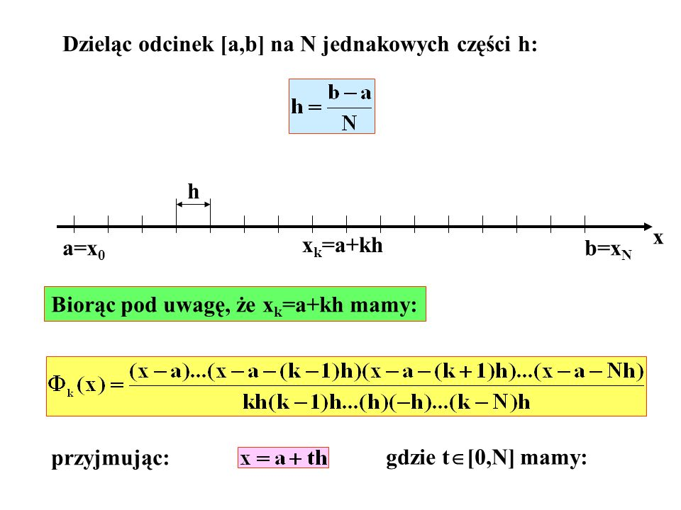 Dzieląc odcinek [a,b] na N jednakowych części h: x a=x 0 b=x N h x k =a+kh Biorąc pod uwagę, że x k =a+kh mamy: przyjmując: gdzie t [0,N] mamy: