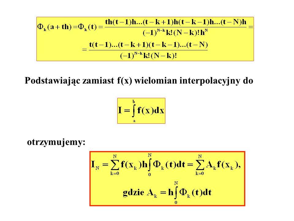 Błąd e N z jakim obliczana jest całka podaje oszacowanie: Metoda trapezów a; 0 x; t b; 1 f(a) f(b) t-1 t