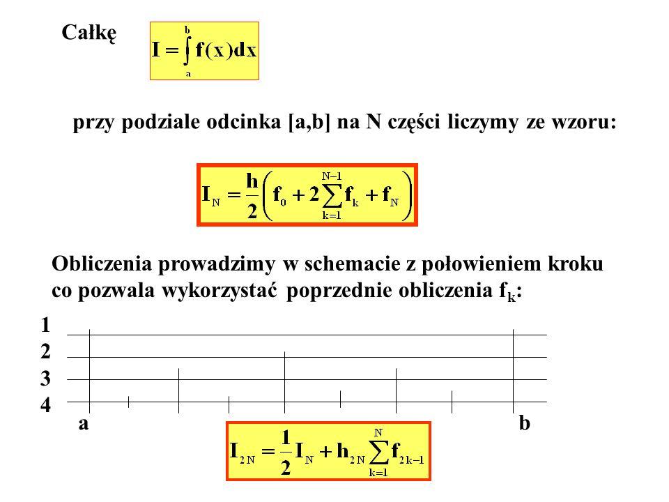 Całkę przy podziale odcinka [a,b] na N części liczymy ze wzoru: Obliczenia prowadzimy w schemacie z połowieniem kroku co pozwala wykorzystać poprzedni