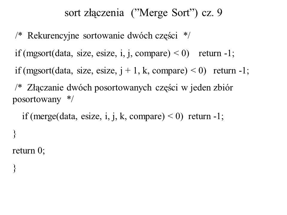 sort złączenia (Merge Sort) cz. 9 /* Rekurencyjne sortowanie dwóch części */ if (mgsort(data, size, esize, i, j, compare) < 0) return -1; if (mgsort(d