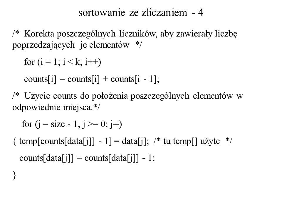sortowanie ze zliczaniem - 4 /* Korekta poszczególnych liczników, aby zawierały liczbę poprzedzających je elementów */ for (i = 1; i < k; i++) counts[