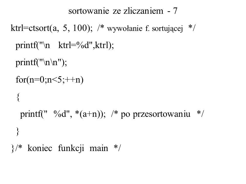 sortowanie ze zliczaniem - 7 ktrl=ctsort(a, 5, 100); /* wywołanie f. sortującej */ printf(