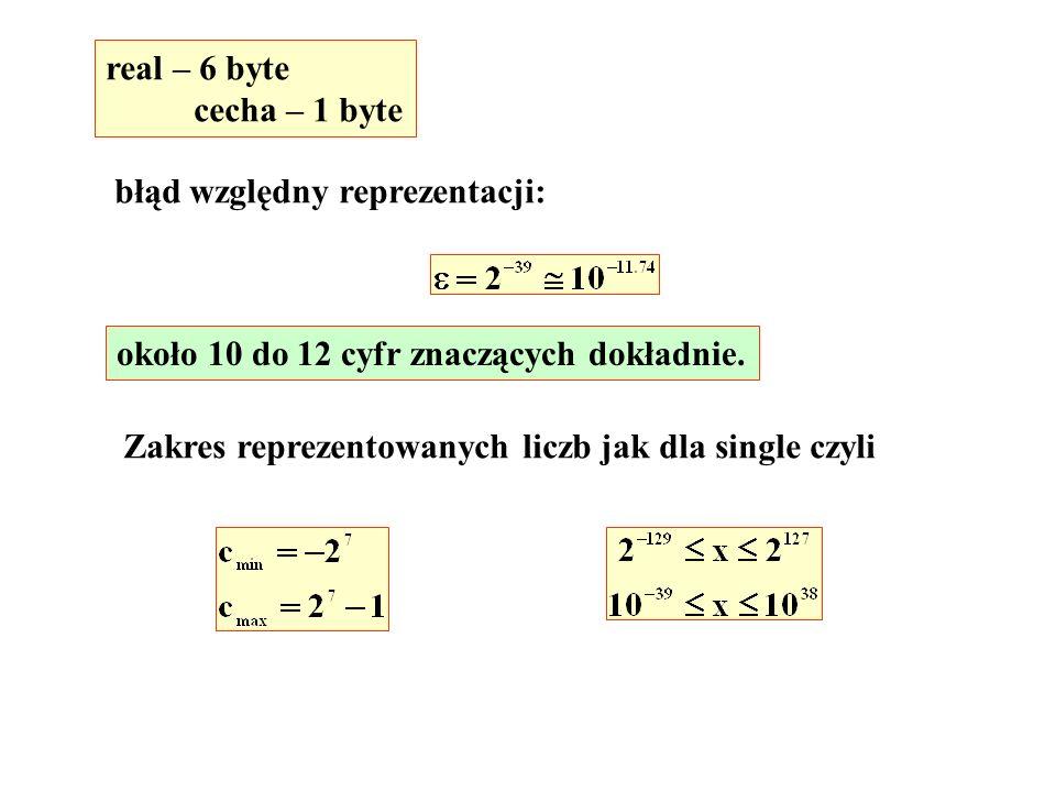 real – 6 byte cecha – 1 byte błąd względny reprezentacji: około 10 do 12 cyfr znaczących dokładnie.