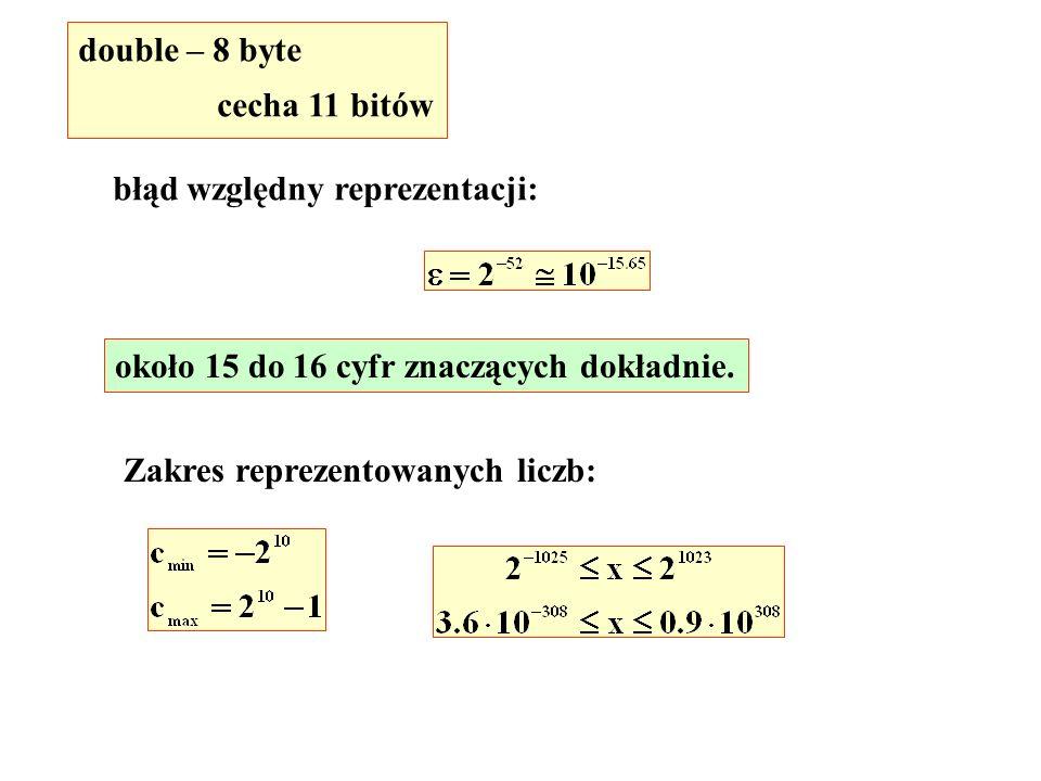 double – 8 byte cecha 11 bitów błąd względny reprezentacji: około 15 do 16 cyfr znaczących dokładnie.