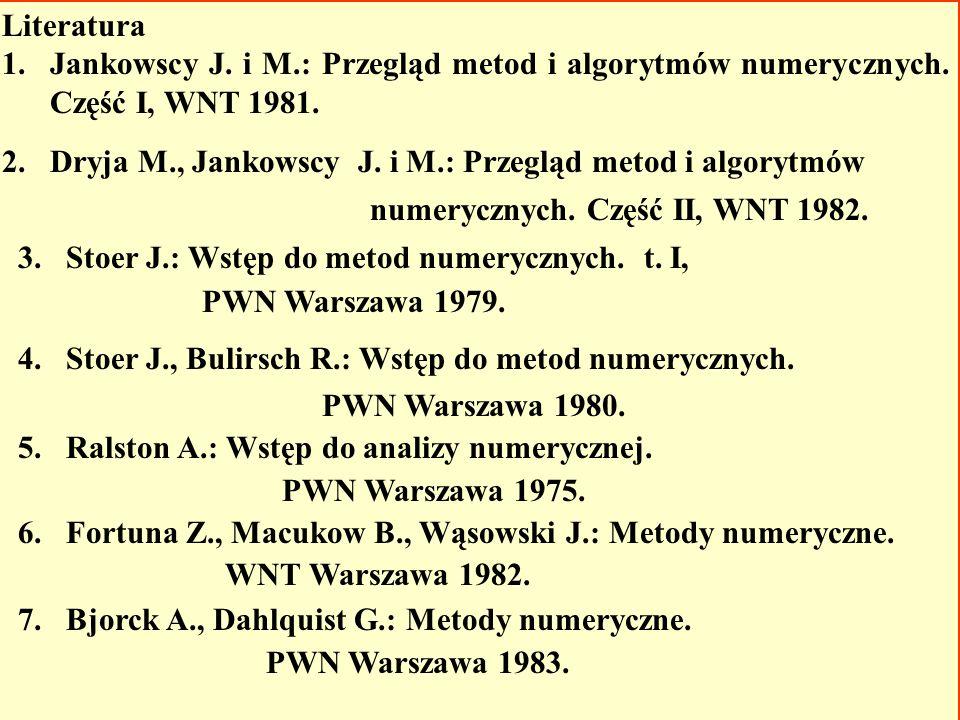 Literatura 1.Jankowscy J.i M.: Przegląd metod i algorytmów numerycznych.