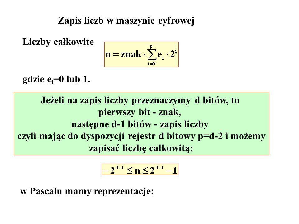 1 byte = 8 bitów 1 byte shortint : -2 7 n 2 7 -1 -128 n 127 tylko nieujemne: byte : 0 n 2 8 -1 0 n 255 2 byte = 16 bitów integer : -2 15 n 2 15 -1 -32768 n 32767 tylko nieujemne: word : 0 n 2 16 -1 0 n 65535