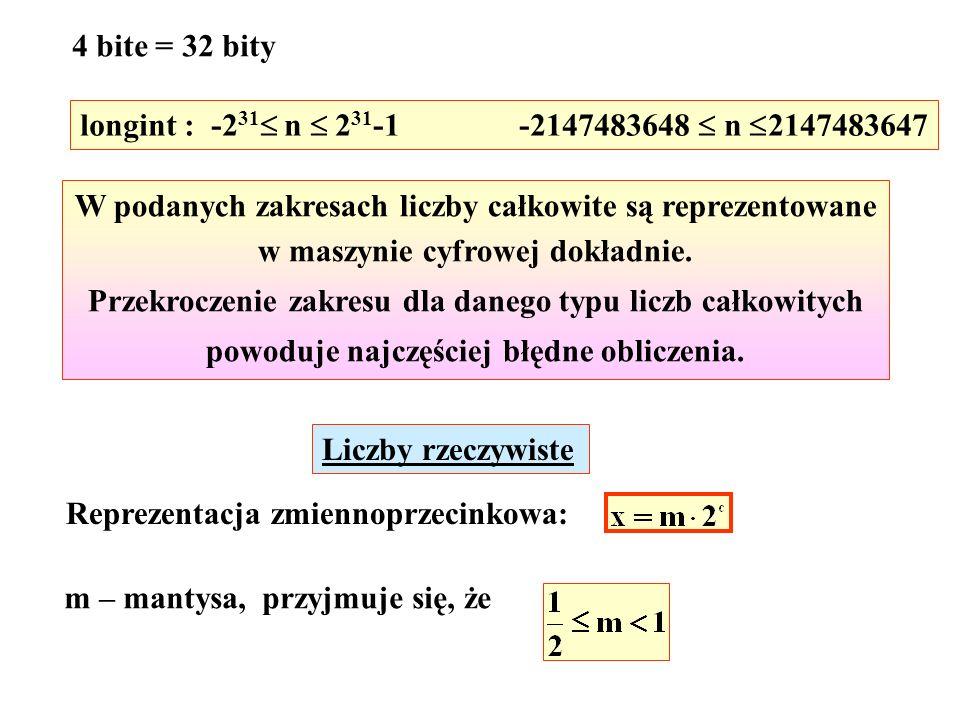 4 bite = 32 bity longint : -2 31 n 2 31 -1 -2147483648 n 2147483647 W podanych zakresach liczby całkowite są reprezentowane w maszynie cyfrowej dokładnie.