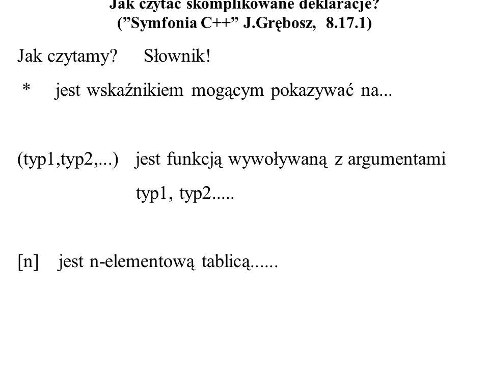 Jak czytać skomplikowane deklaracje. (Symfonia C++ J.Grębosz, 8.17.1) Jak czytamy.