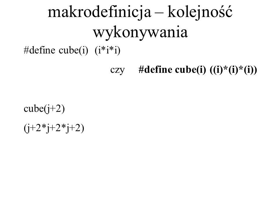 makrodefinicja – kolejność wykonywania #define cube(i) (i*i*i) czy #define cube(i) ((i)*(i)*(i)) cube(j+2) (j+2*j+2*j+2)