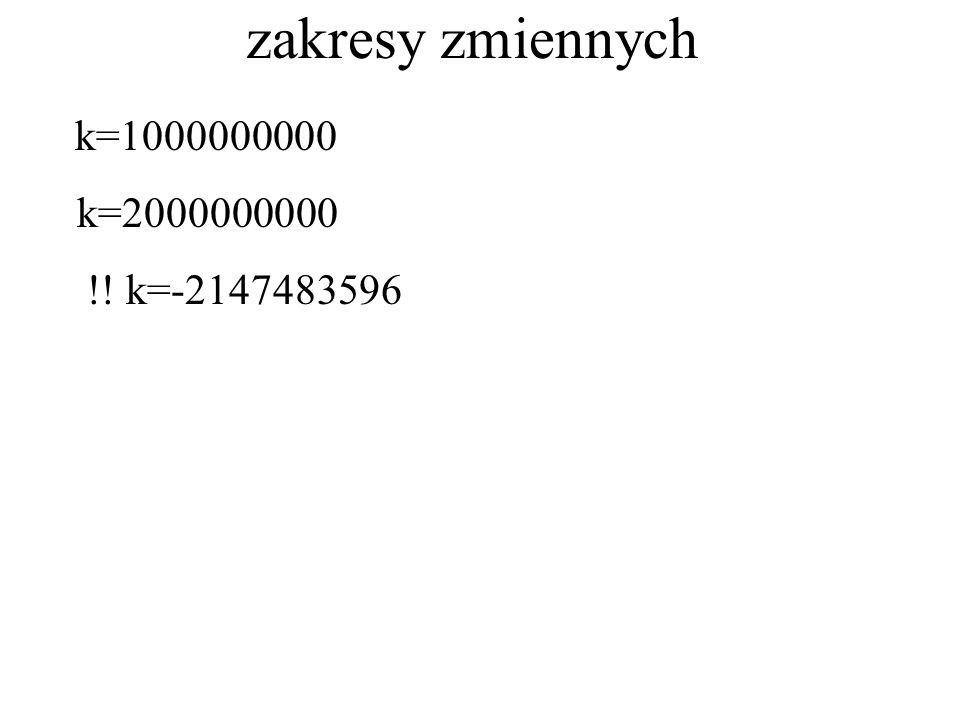 zakresy zmiennych k=1000000000 k=2000000000 !! k=-2147483596