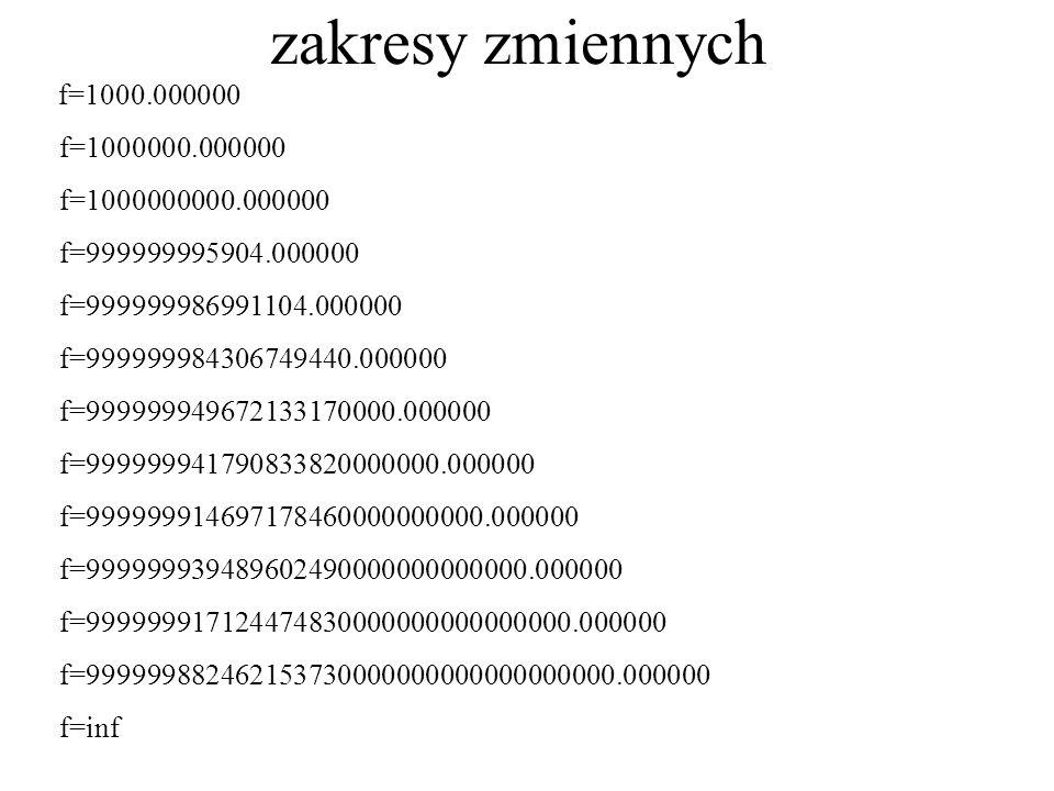 zakresy zmiennych f=1000.000000 f=1000000.000000 f=1000000000.000000 f=999999995904.000000 f=999999986991104.000000 f=999999984306749440.000000 f=9999