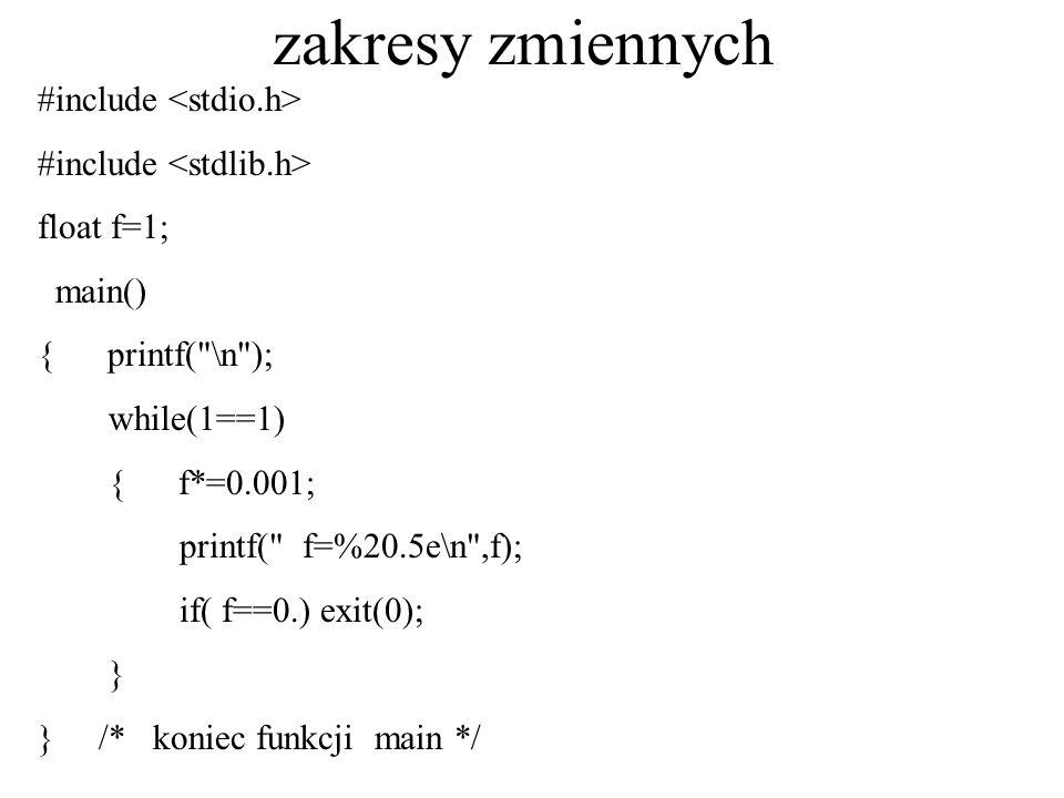 zakresy zmiennych #include float f=1; main() { printf(