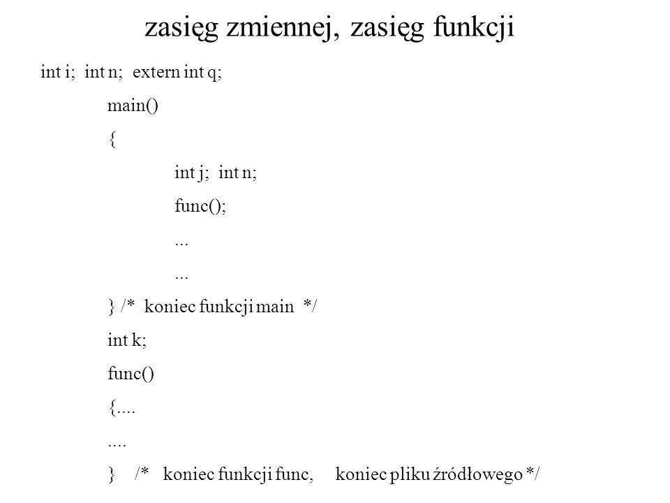 zasięg zmiennej, zasięg funkcji int i; int n; extern int q; main() { int j; int n; func();... } /* koniec funkcji main */ int k; func() {........ } /*