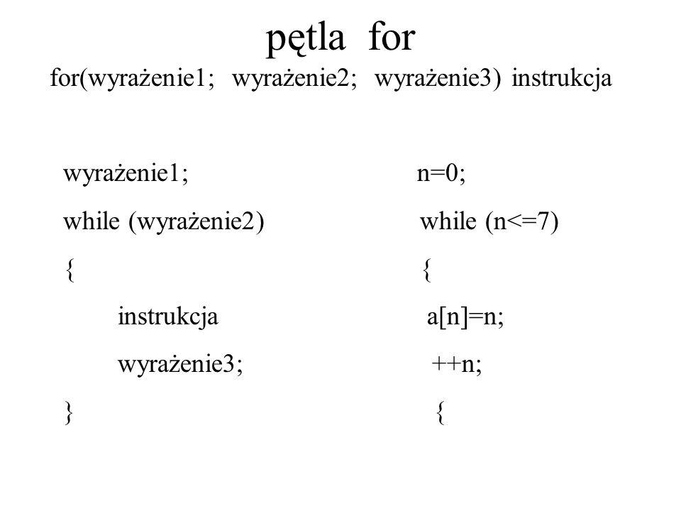 pętla for for(wyrażenie1; wyrażenie2; wyrażenie3) instrukcja wyrażenie1; n=0; while (wyrażenie2) while (n<=7) { { instrukcja a[n]=n; wyrażenie3; ++n;