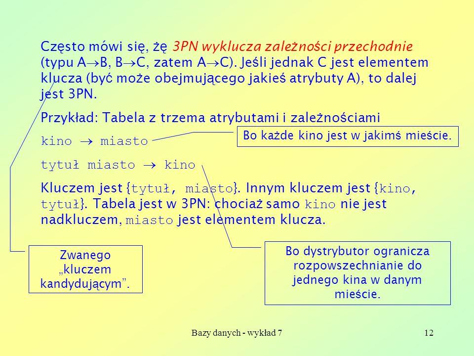Bazy danych - wykład 712 Cz ę sto mówi si ę, żę 3PN wyklucza zale ż no ś ci przechodnie (typu A B, B C, zatem A C). Je ś li jednak C jest elementem kl