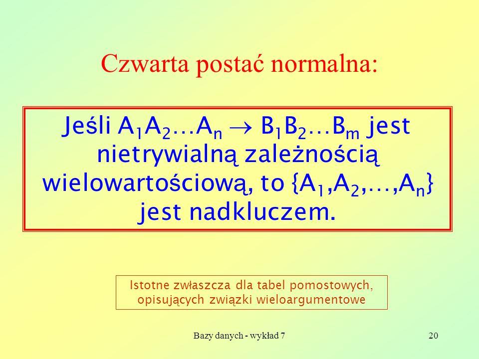 Bazy danych - wykład 720 Czwarta postać normalna: Je ś li A 1 A 2 …A n B 1 B 2 …B m jest nietrywialn ą zale ż no ś ci ą wielowarto ś ciow ą, to {A 1,A