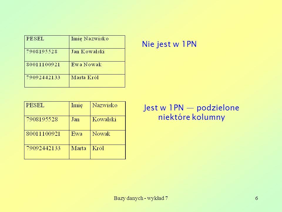 Bazy danych - wykład 76 Nie jest w 1PN Jest w 1PN podzielone niektóre kolumny
