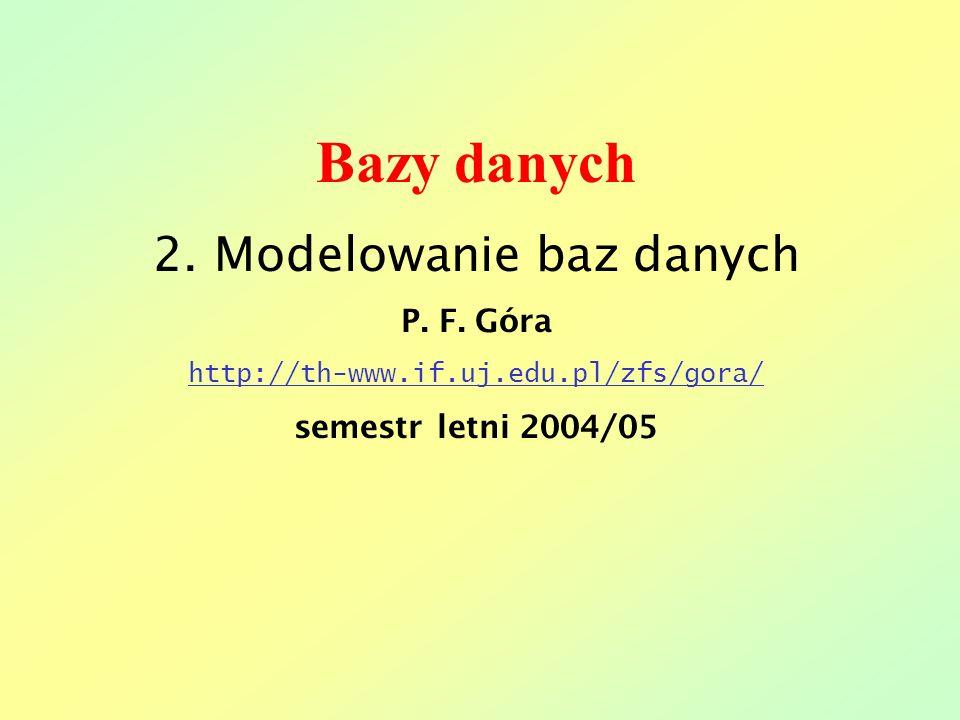 Bazy danych 2. Modelowanie baz danych P. F. Góra http://th-www.if.uj.edu.pl/zfs/gora/ semestr letni 2004/05