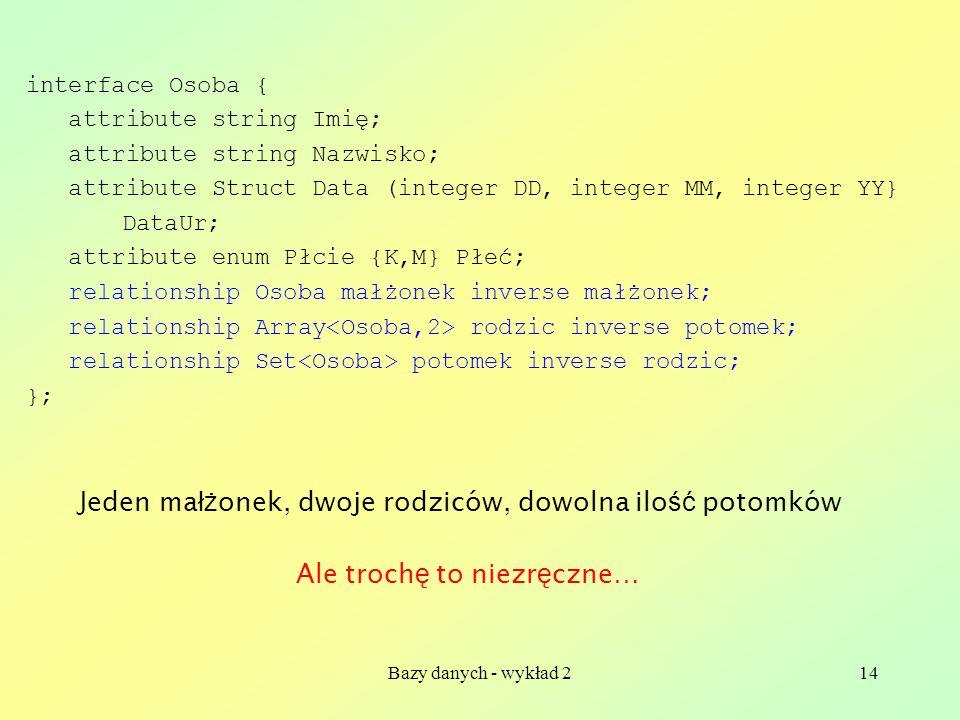 Bazy danych - wykład 214 interface Osoba { attribute string Imię; attribute string Nazwisko; attribute Struct Data (integer DD, integer MM, integer YY