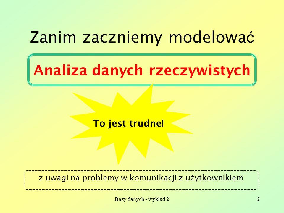 Bazy danych - wykład 22 Zanim zaczniemy modelowa ć Analiza danych rzeczywistych To jest trudne! z uwagi na problemy w komunikacji z u ż ytkownikiem