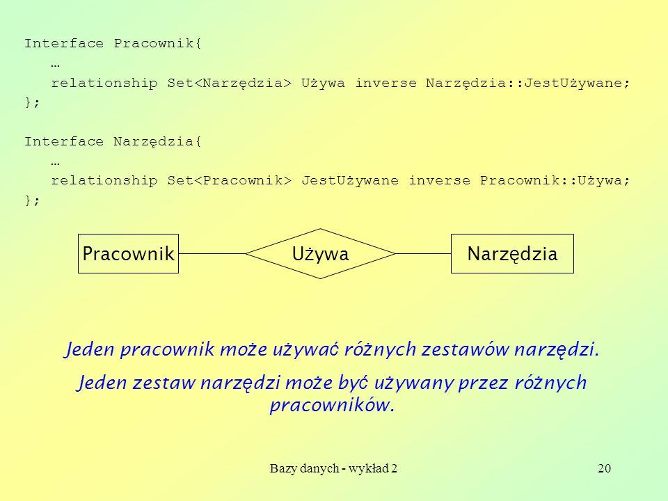 Bazy danych - wykład 220 Interface Pracownik{ … relationship Set Używa inverse Narzędzia::JestUżywane; }; Interface Narzędzia{ … relationship Set Jest