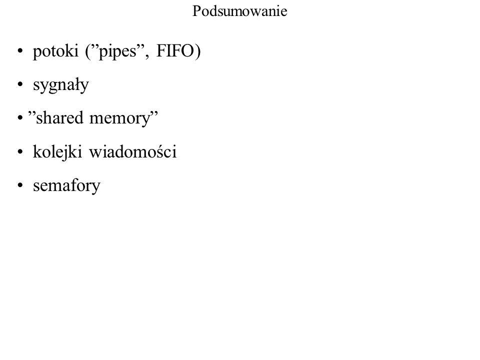Podsumowanie potoki (pipes, FIFO) sygnały shared memory kolejki wiadomości semafory