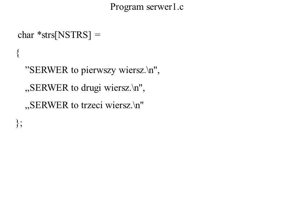 Program serwer1.c char *strs[NSTRS] = { SERWER to pierwszy wiersz.\n