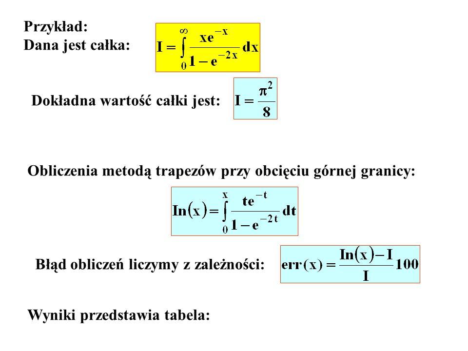 Przykład: Dana jest całka: Dokładna wartość całki jest: Obliczenia metodą trapezów przy obcięciu górnej granicy: Błąd obliczeń liczymy z zależności: W