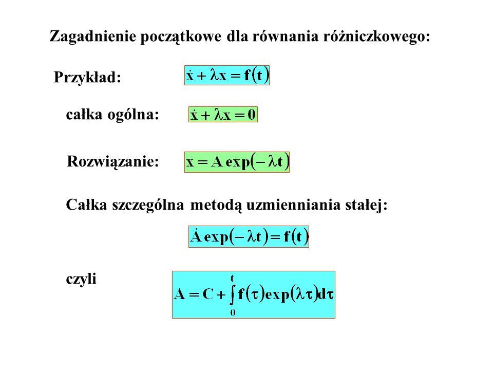 Zagadnienie początkowe dla równania różniczkowego: Przykład: całka ogólna: Rozwiązanie: Całka szczególna metodą uzmienniania stałej: czyli